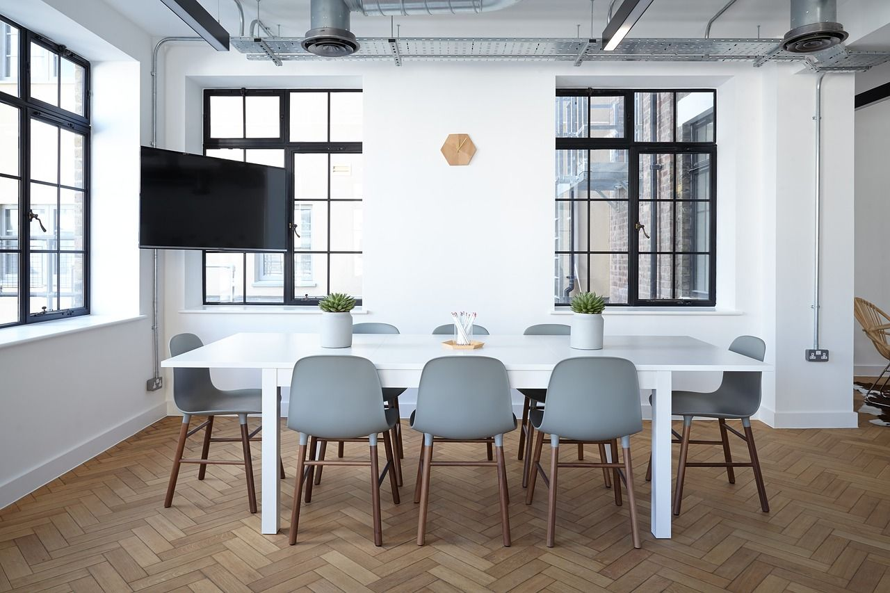 Conference room video conferencing systems have monitors at an ideal height; no neck craning needed.